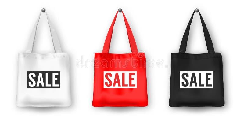 Realistischer Vektorschwarz-, weißer und Roterleerer Textileinkaufseinkaufstasche-Ikonensatz, mit Wort VERKAUF Nahaufnahme an lizenzfreie abbildung