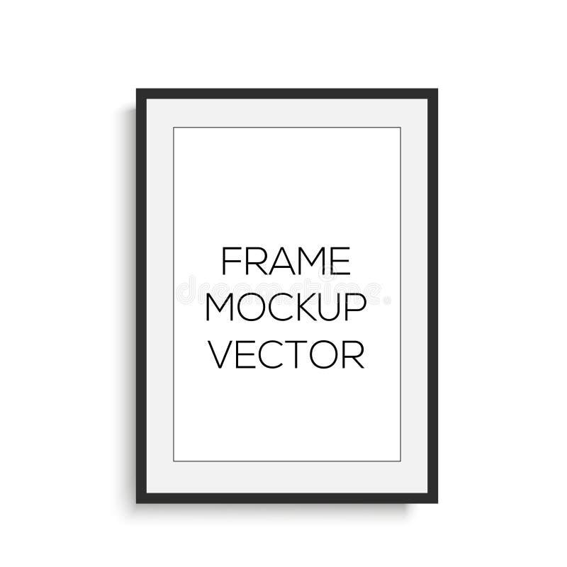 Realistischer vertikaler schwarzer Fotorahmen Spott oben Vektor vektor abbildung