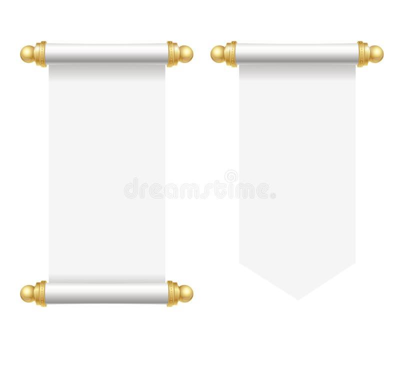 Realistischer Weißbuch-Rollen-Satz des Schablonen-freien Raumes Vektor lizenzfreie abbildung