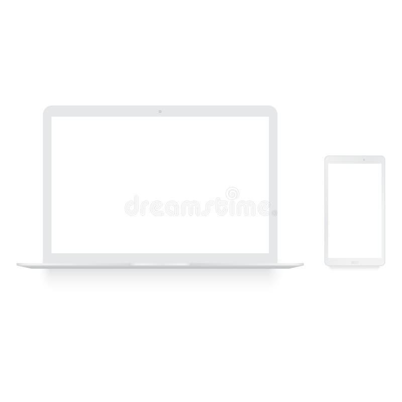 Realistischer weißer Laptop- und Smartphonespott oben Vektor stock abbildung