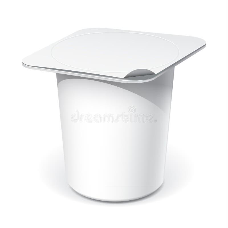 Realistischer weißer leerer Plastikbehälter für Joghurt lizenzfreie abbildung