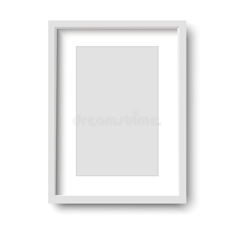 Realistischer weißer Rahmen lokalisiert auf weißem Hintergrund Abbildung lizenzfreie abbildung