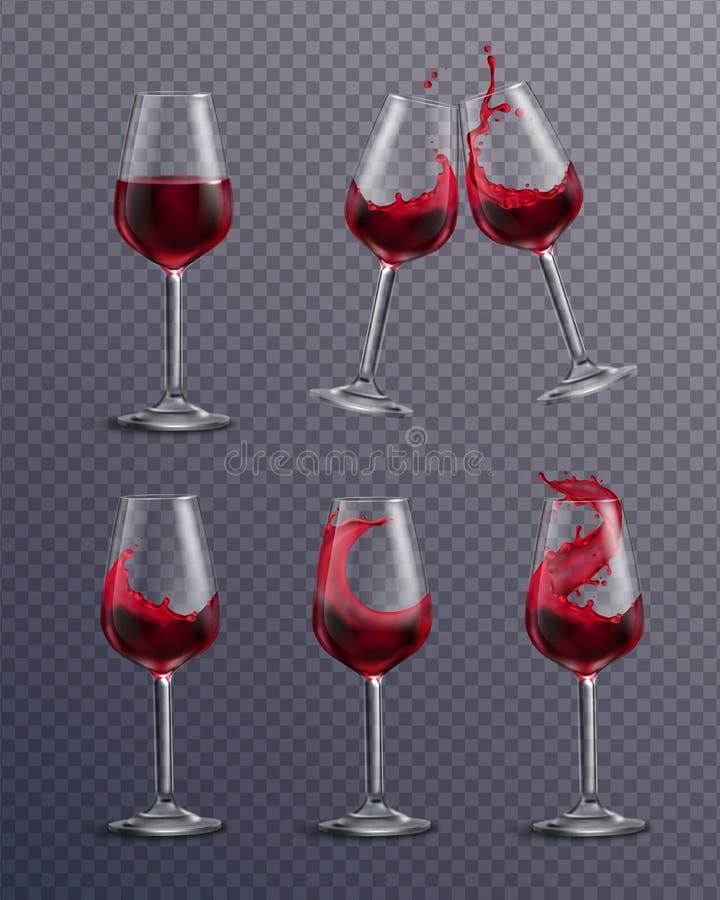 Realistischer Wein-Glas-Satz lizenzfreie abbildung