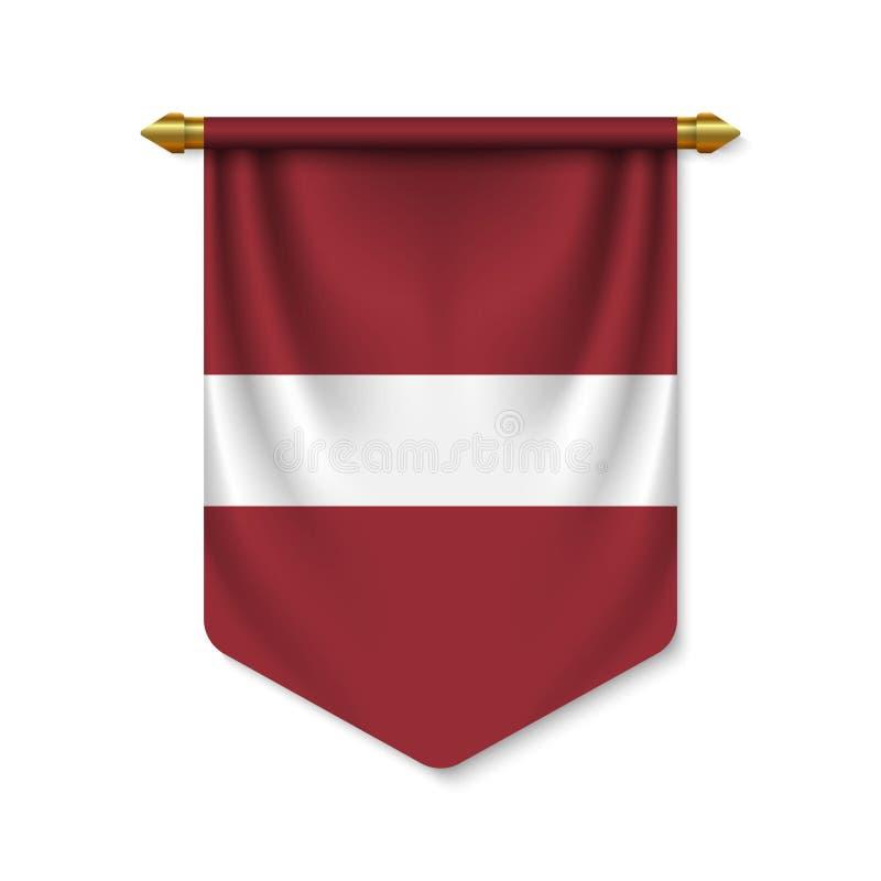 realistischer Wimpel 3d mit Flagge lizenzfreie abbildung