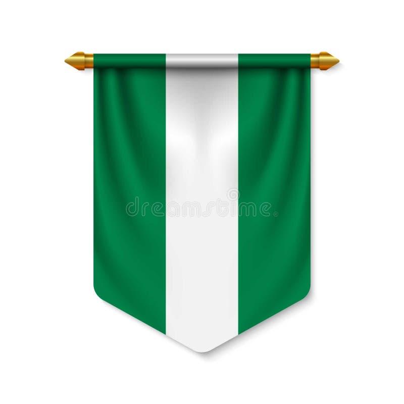 realistischer Wimpel 3d mit Flagge stock abbildung