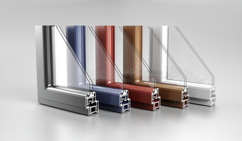 Realistischer Winkel schnitt modernes PVCaluminiummetallausgangsfenster H ab stockfoto
