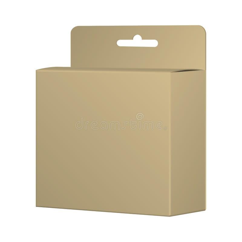 Realistisches aufbereitetes Karten-Produkt-Paket-Kasten-Modell mit Hang Slo lizenzfreie abbildung