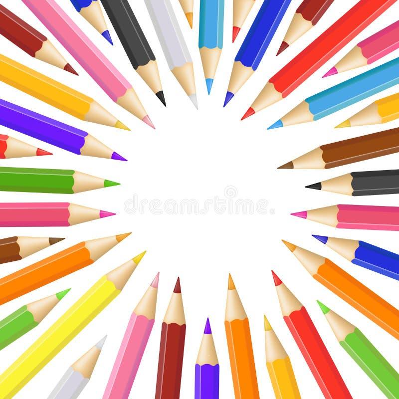 Realistisches ausführliches 3d färbte Bleistifte ringsum Rahmen Vektor lizenzfreie abbildung
