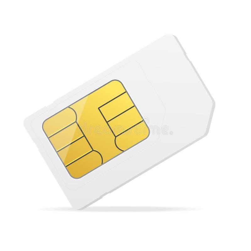 Realistisches ausführliches 3d weißes Modell Sim Card Vektor lizenzfreie abbildung