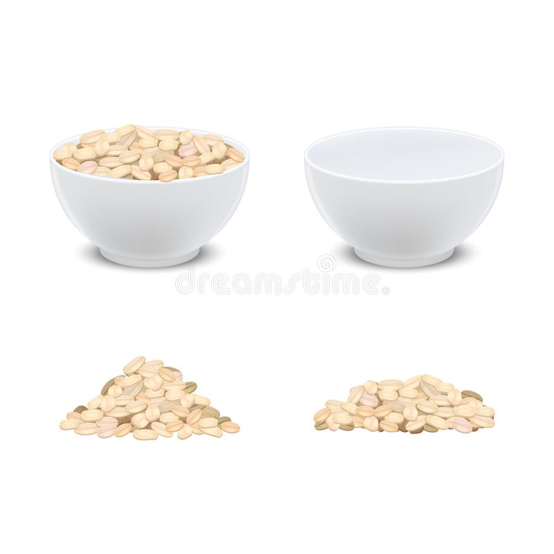 Realistisches ausführliches Frühstück des Hafermehl-3d und weiße keramische Schüssel Vektor vektor abbildung