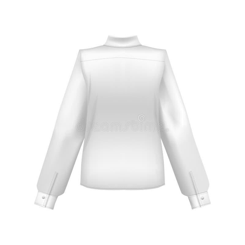 Realistisches ausführliches Hemd-Rückseite des freien Raumes der Schablonen-3d weißes Vektor stock abbildung