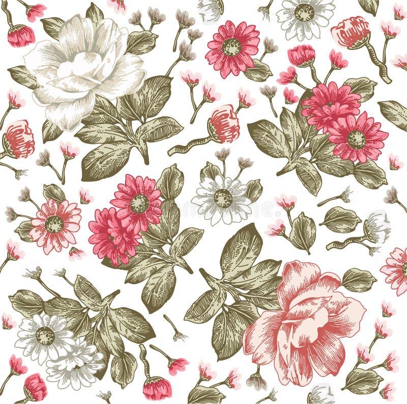 Realistisches Blumenmuster Weinlesebarockhintergrund Kamille, Pfingstrosen tapete Zeichnungsstich Vektor Victorian lizenzfreie abbildung
