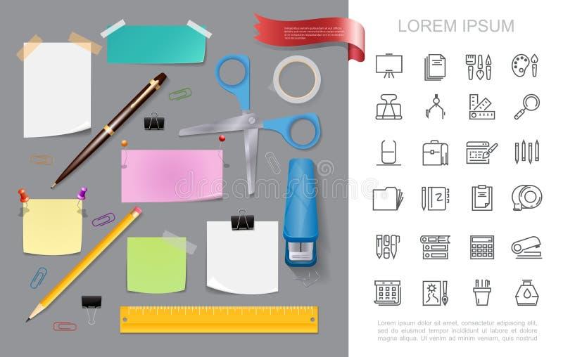 Realistisches Briefpapier-buntes Konzept stock abbildung