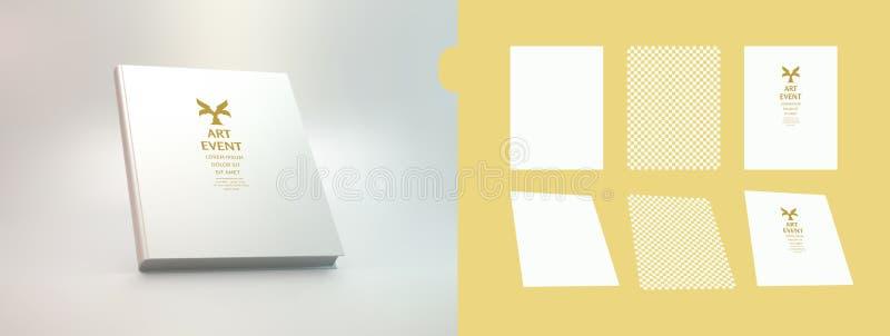 Realistisches Buchmodell Abdeckungsdesignschablone Wei?er Hintergrund Abbildung des Vektor 3d stock abbildung