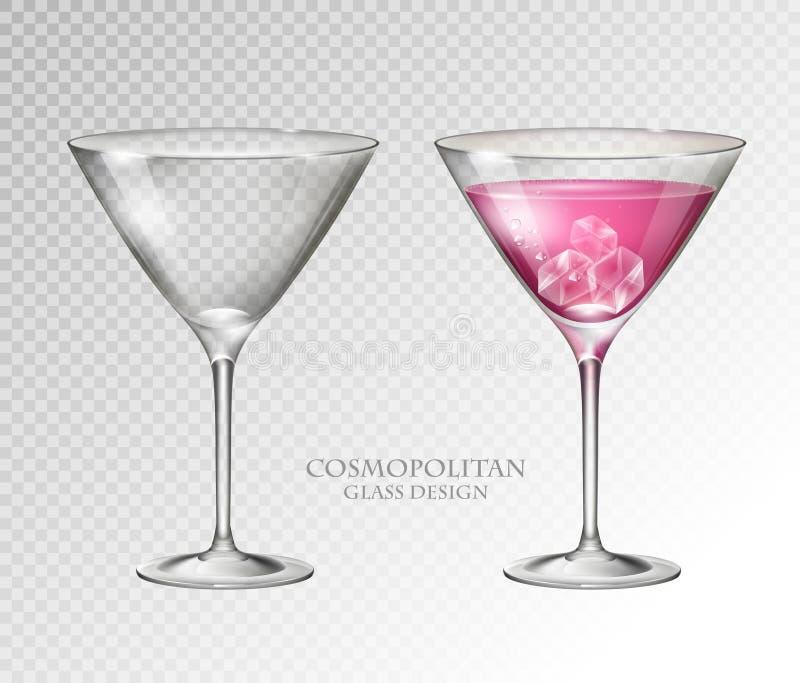 Realistisches Cocktail kosmopolitisch auf transparentem Hintergrund Volles und leeres Glas lizenzfreie abbildung