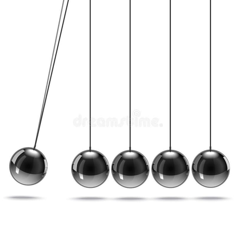 Realistisches 3d führte metallische Newton-Wiege einzeln auf Vektor lizenzfreie abbildung