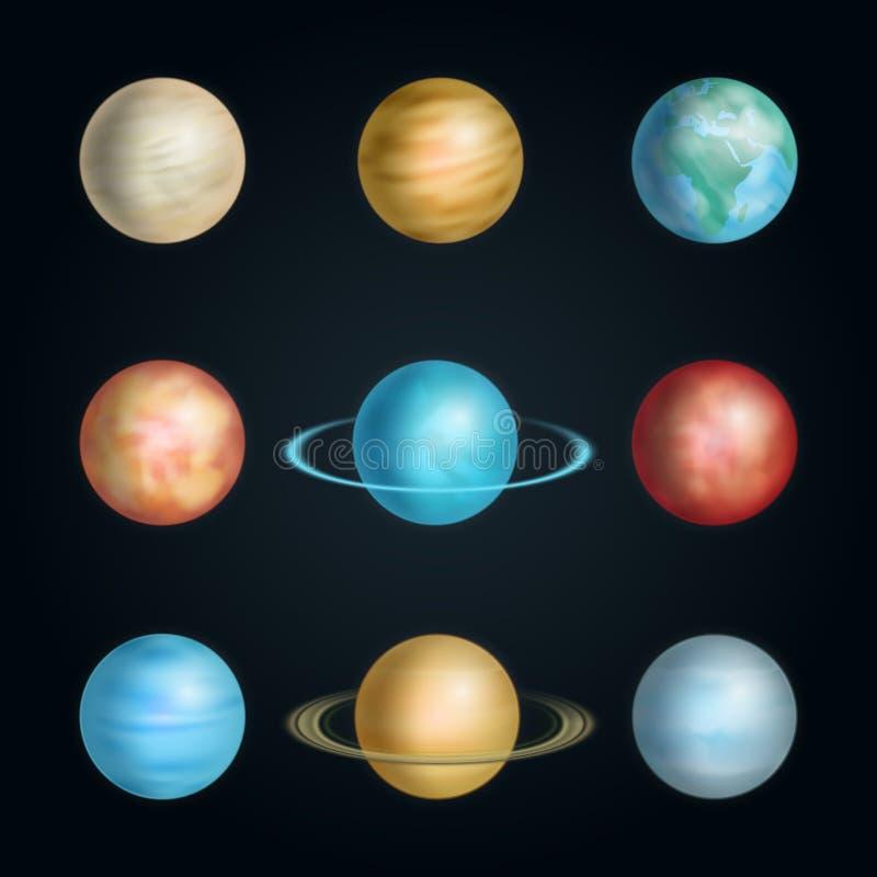 Realistisches 3d führte Sonnensystem-Planeten-Satz einzeln auf Vektor stock abbildung