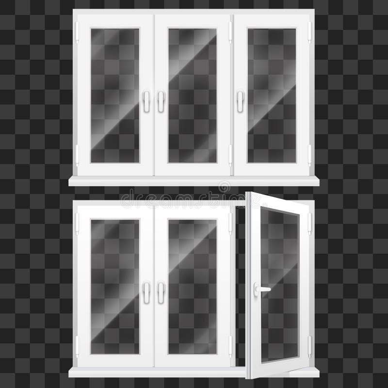 Realistisches 3d führte weißen Plastik-PVC-Fenster-Satz einzeln auf Vektor stock abbildung