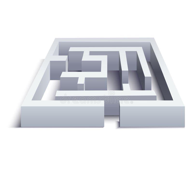 Realistisches 3d führte weißes Labyrinth-Puzzlespiel einzeln auf Vektor lizenzfreie abbildung