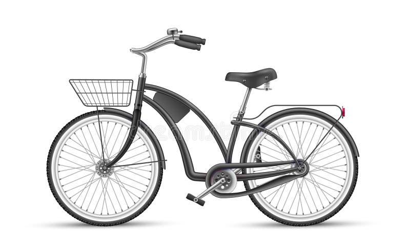 Realistisches 3d lokalisiertes Modell des schwarzen Fahrrades des Vektors stock abbildung