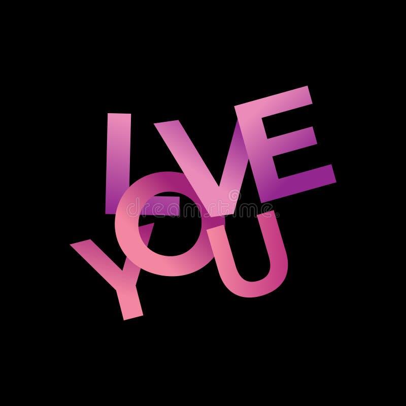 Realistisches des Liebestextes 3d lokalisiert auf schwarzem Hintergrund für valentine' s-Tageskartenschablonenfahnen-Vektori lizenzfreie abbildung