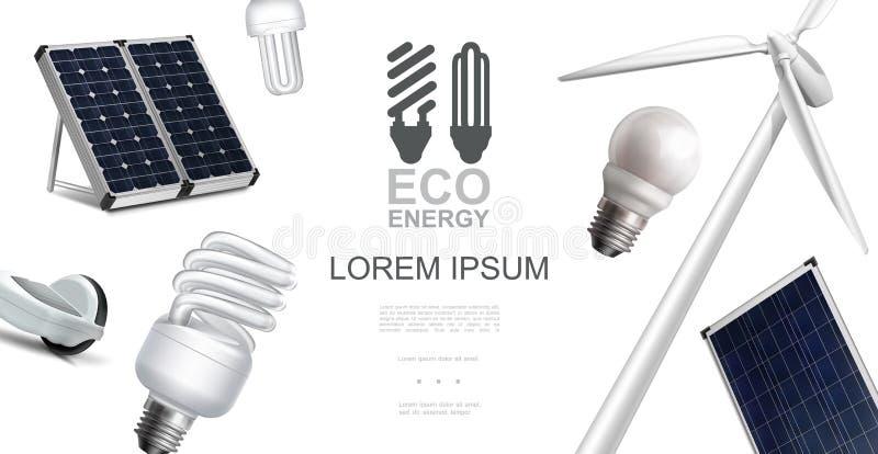 Realistisches Eco-Energie-Element-Konzept stock abbildung