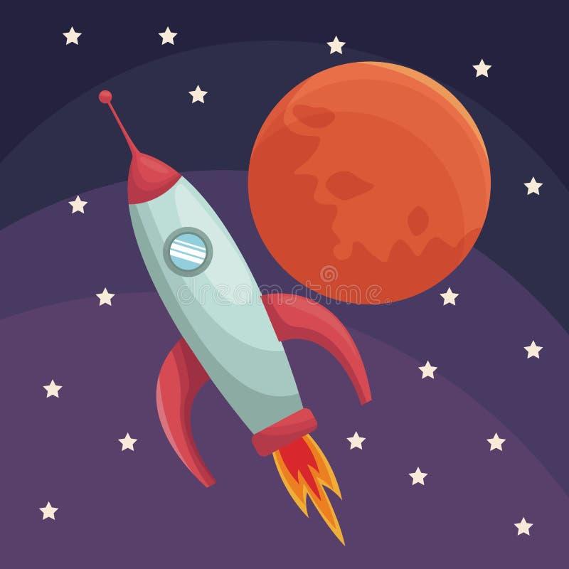 Realistisches Farbplakatuniversum mit Rakete und Planeten lizenzfreie abbildung