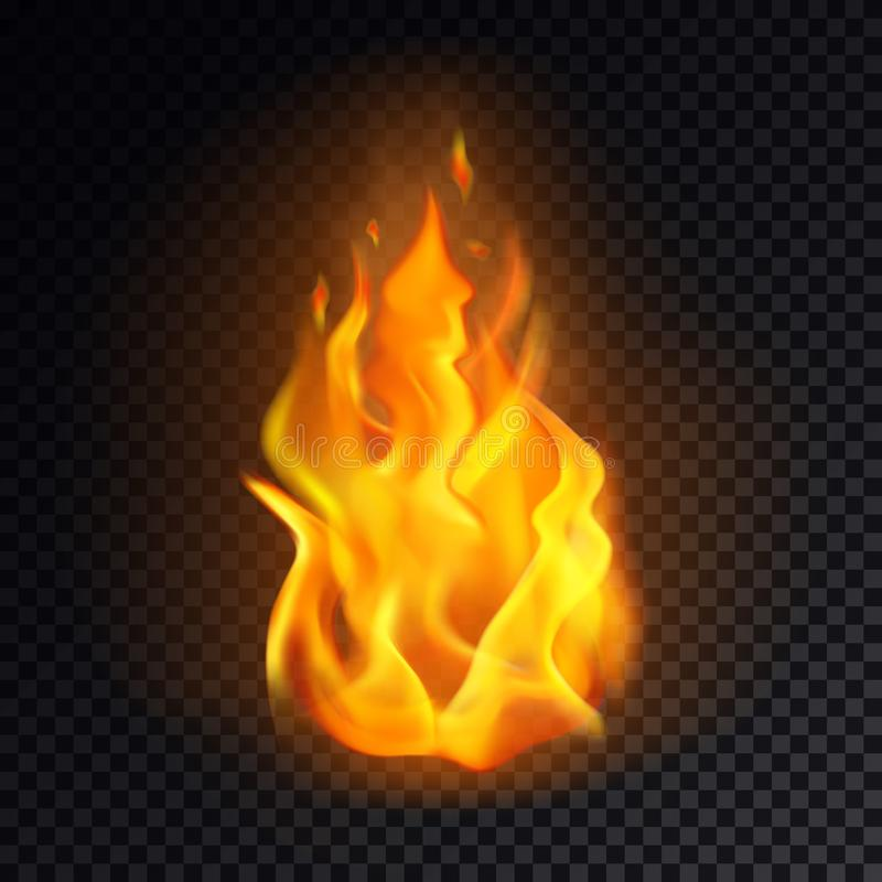 Realistisches Feuer oder 3d Flamme, orange Brand emoji lizenzfreie abbildung