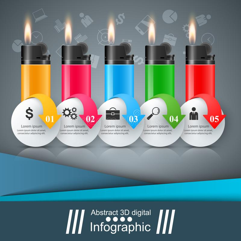 Realistisches Feuerzeug - Geschäft infographic und Marketing-Ikone lizenzfreie abbildung
