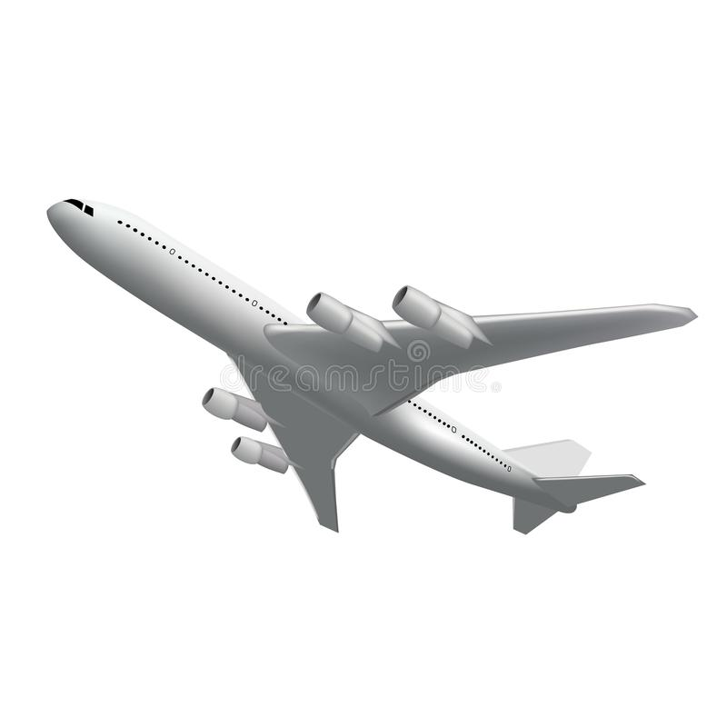 Realistisches Fliegenflugzeug zurück sehen an Hoch ausführliches weißes Flugzeug lokalisiert Fluglinien-Konzept-Reise-Passagierfl lizenzfreie abbildung