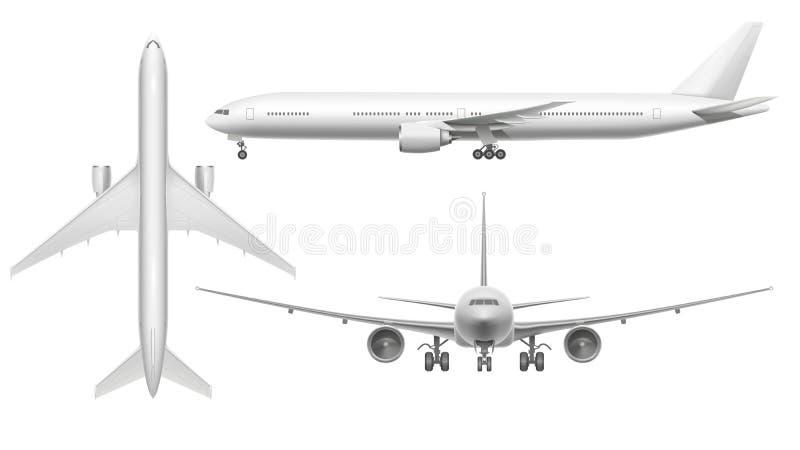 Realistisches Flugzeug Flache Ansichtlandung der Flugzeuge auf Rollbahn oder Fliegen Weißes Flugzeug lokalisierte Illustration 3d stock abbildung