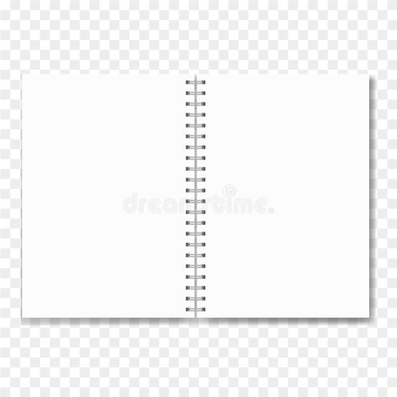 Realistisches geöffnetes Notizbuch mit Leerbelegen stock abbildung