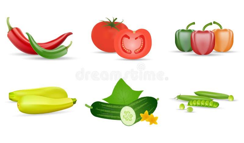 Realistisches Gem?se Tomate, grüne Gurken, Pfeffer, zukini und Erbsenhülse Lokalisierter Ikonensatz des Vektors 3d, ENV 10 stock abbildung