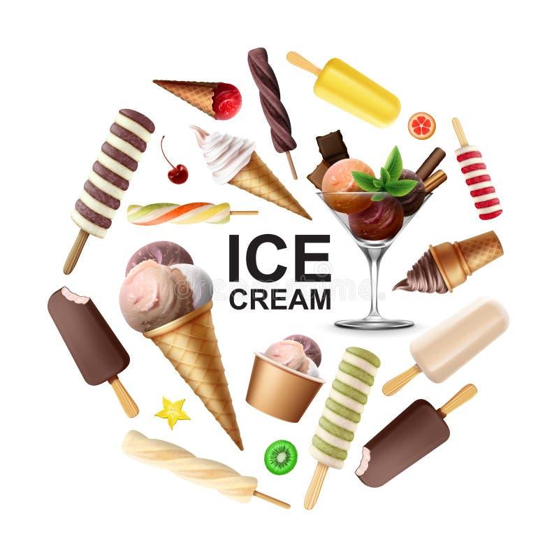 Realistisches geschmackvolles Eiscreme-Runden-Konzept vektor abbildung