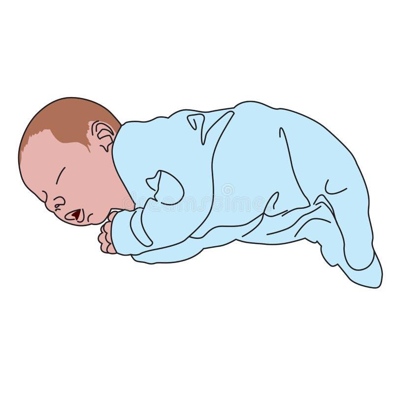 Realistisches gezeichnetes Baby des Vektors auf Weiß Nettes kleines neugeborenes, angekleidet im blauen Sleepwear, Schlaf lizenzfreie abbildung