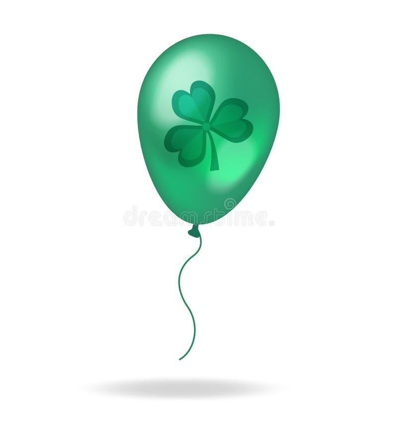 Realistisches Grün 3D steigt mit Klee, Shamrock für St- Patrick` s Tag im Ballon auf Getrennt auf weißem Hintergrund Vektor vektor abbildung