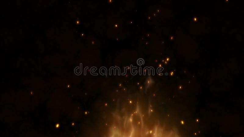 Realistisches großes Feuer mit heißen Funken steigen in den nächtlichen Himmel Brennende Flamme auf einem abstrakten Hintergrund  lizenzfreie abbildung