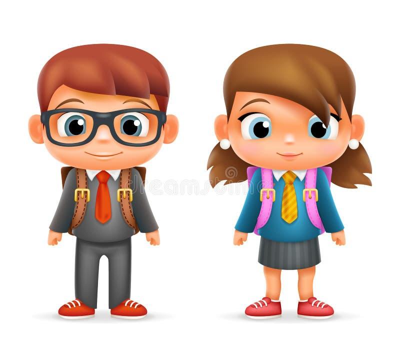 Realistisches Ikonen-Bühnenbild des Schuljungen-Mädchen-Kinderschüler-Karikatur-Bildungs-Charakter-3d lokalisierte Vektor-Illustr lizenzfreie abbildung