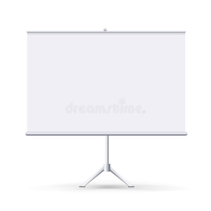 Realistisches leeres flipchart lokalisiert auf weißem sauberem Hintergrund Weiße horizontale rollen oben Fahne für Darstellung lizenzfreies stockbild