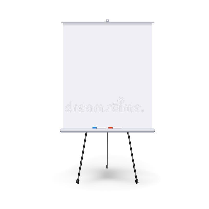 Realistisches leeres flipchart mit drei Beinen lokalisiert auf weißem sauberem Hintergrund Weiß rollen Sie oben Fahne für Darstel lizenzfreies stockfoto