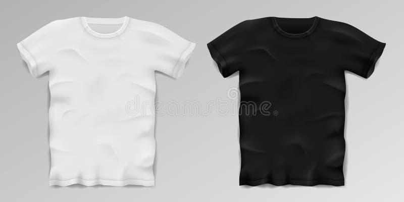 Realistisches männliches Schwarzweiss-T-Shirt Freier Raum trägt T-Shirt Schablone zur Schau Baumwollmann-Hemddesign Vektor stock abbildung