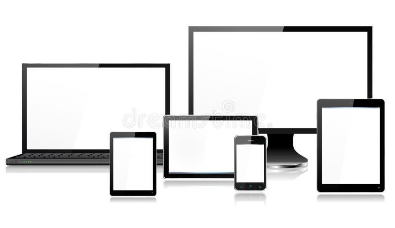 Realistisches mobiler Computer-Gerät-Laptop-Bildschirm-Smartphone-Tablet Mini lizenzfreie abbildung