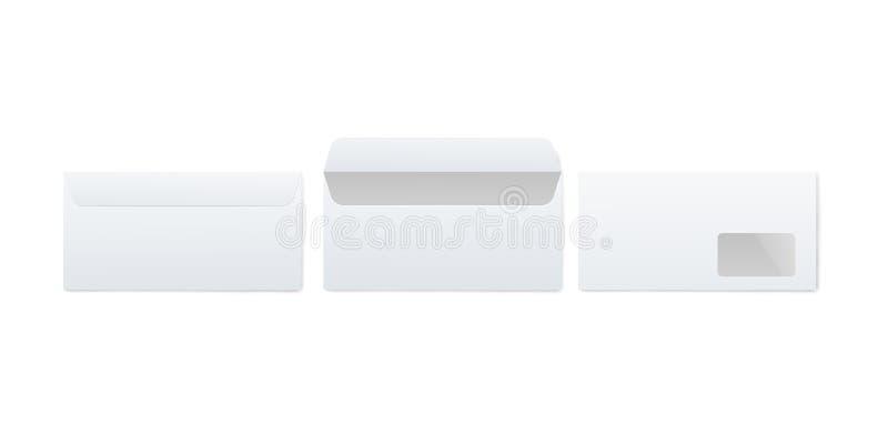 Realistisches Modell des weißen Umschlags des leeren Papiers eingestellt von der Front und zurück von Ansicht offen und geschloss vektor abbildung