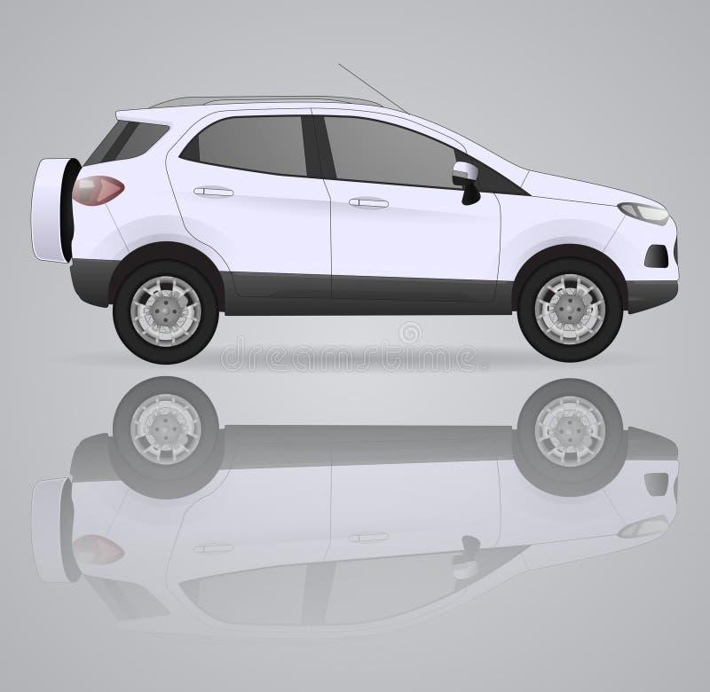 Realistisches Modellauto auf Hintergrund Ausschnittskizze Auch im corel abgehobenen Betrag lizenzfreie abbildung