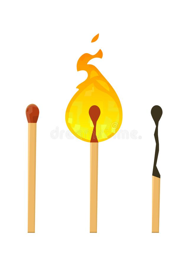 Realistisches nagelneues, Burning und gebranntes Match haftet auf wei?em Hintergrund lizenzfreie abbildung