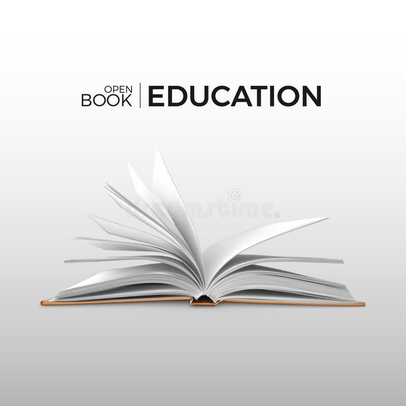 Realistisches offenes Buch der Ausbildung und der Studie mit white pages Lehrbuchschablone Auch im corel abgehobenen Betrag lizenzfreie abbildung