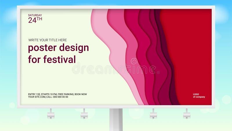 Realistisches Plakat mit multi Schichten entwerfen für Festival auf Anschlagtafel Abstraktes Muster mit Papierschnittdesign grüne vektor abbildung