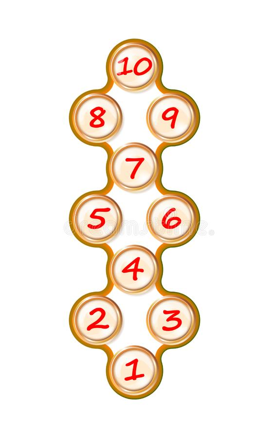 Realistisches Plastikspielzeug des goldenen Spiels des Hopseaufzugs mit Knöpfen Straßenspiel der Kinder Farb Glattes Bedienfeld K vektor abbildung