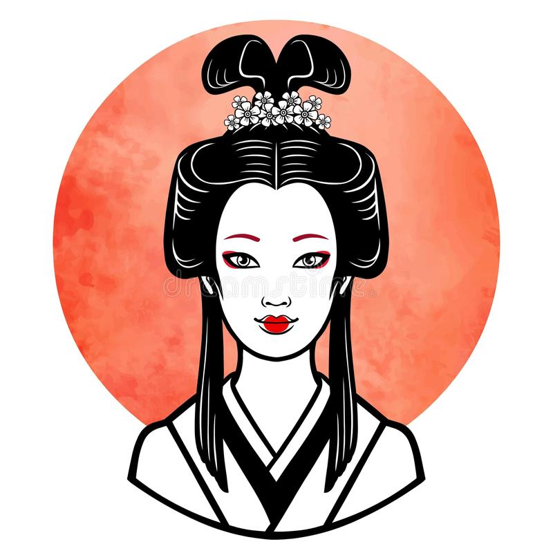 Realistisches Porträt des jungen japanischen Mädchens eine alte Frisur Geisha, maiko, Prinzessin stock abbildung