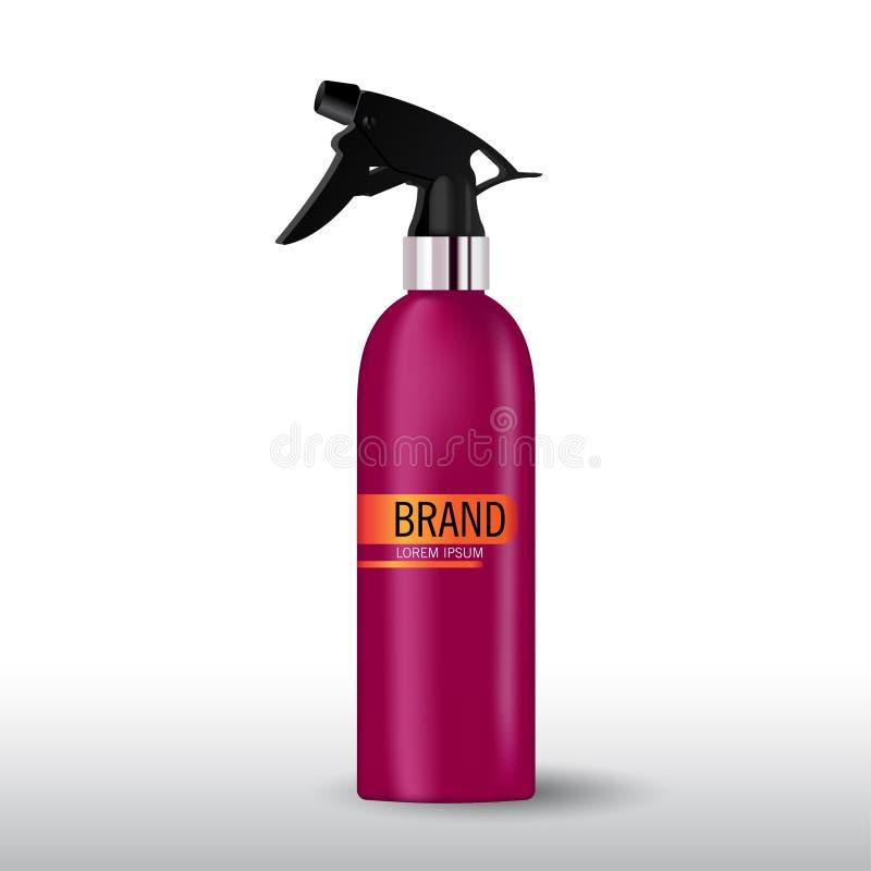 Realistisches Purpurrotes, bereift, Scharlachrot Flasche für kosmetischen Sahnebehälter lizenzfreie abbildung
